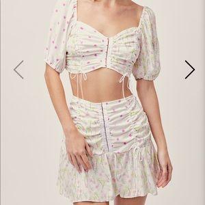 NWT FL&L Strudel Floral Blouse Mini Skirt set S/XS